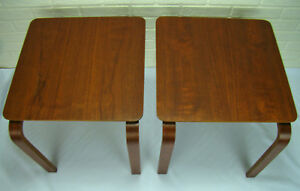 Mid Century Danish Modern Walnut Molded Bent Ply Stacking Side End Tables