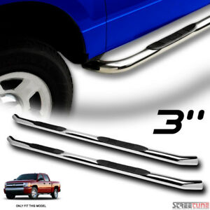 For 07 18 Chevy Silverado Crew 3 Chrome Stainless Side Step Bars Rail Boards Hd