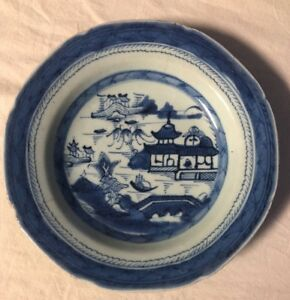 Antique Blue And White Chinese Export Porcelain Canton Bowl 19th Century