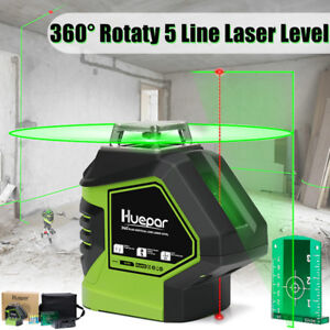 360 Degree 5 Line Green Cross Infrared Laser Level Rotary Measure Tool Bag