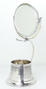 Antique Victorian Superior Silver Plate Co Tilting Shaving Mirror Stand