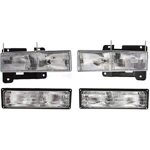 Headlights Headlamps Parking Corner Signal Light Set Kit For Chevy Gmc Truck