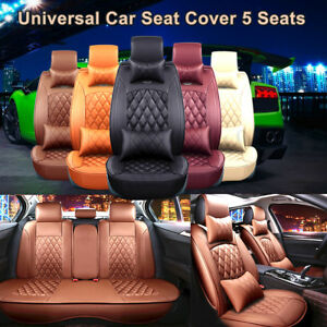 Universal Car Seat Pu Leather Cover 5 Seats Full Front Rear Cushion W Pillow
