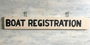 1950 S Antique Boat Registration Wood Sign Vintage Black White 3 5 X 24