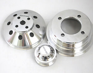 Small Block Ford Mustang 351w 302 Serpentine Aluminum Pulley Kit Crank water alt