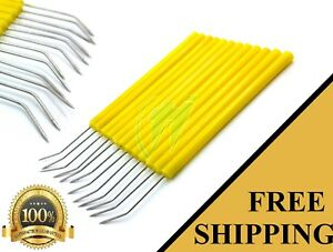 Set Of 12 Yellow Dissection Dissecting Needles Curved