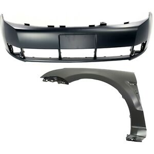 Bumper Cover Kit For 2008 2011 Ford Focus Front 2pc With Fender Primed