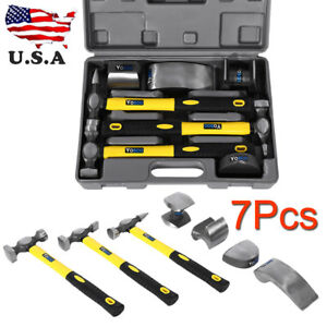 Hammers 7pc Car Auto Body Panel Repair Tool Kit With Fibreglass Handles Beating