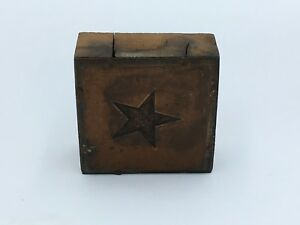 Vtg Copper Star Print Press Printers Block 2 1 4 Engraved Metal Letterpress