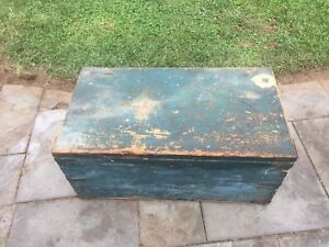 Antique Dovetailed Blanket Immigrant Trunk Chest In Old Green Paint Storage
