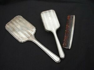Antique La Pierre Sterling Silver Hand Mirror Brush Comb Vanity Set No Monogra