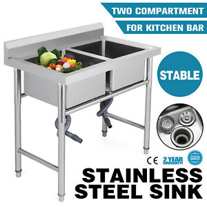 Two 2 Compartment Stainless Steel Commercial Kitchen Bar Sink