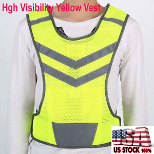 Reflective Safe Security High Visibility Vest Gear Stripes Jacket Night Running