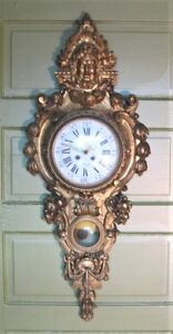 Superb Mid 19th C 48 French Carved Gilt Wood Figural Clock C 1860 Antique