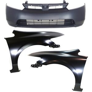 Bumper Cover Kit For 2006 2008 Honda Civic Front 4 door Sedan 3pc Capa