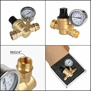 Esright Brass Water Pressure Regulator Lead free With Gauge For Adjustable Rv Nh