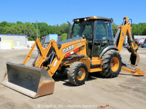 2015 Case 590sn Backhoe Wheel Loader A c Cab Aux Hyd Thumb Tractor Bidadoo