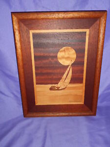 Vintage 10 X 13 Framed Marquetry Wood Inlay Picture Robert Kitchens Sailboat Sun
