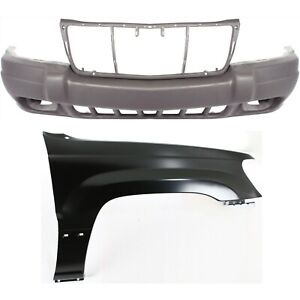 Bumper Cover Kit For 99 2002 Jeep Grand Cherokee For Models With Fog Lights 2pc