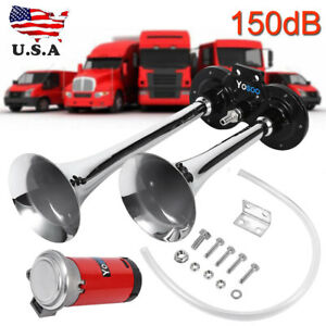 150db Air Horn Dual Two Trumpet Super Loud Compressor Boat Truck Lor
