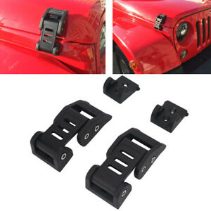 2pcs Hood Lock Assembly Pin Kit Latches Catch Set For 2007 2017 Jeep Wrangler Jk