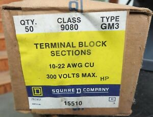 Square D 9080 Gm3 Terminal Block Sections Box Of 50