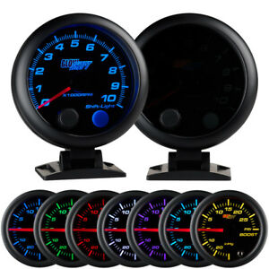 95mm Glowshift Smoked 7 Color Led Tacho Rpm Tachometer Gauge Meter Kit