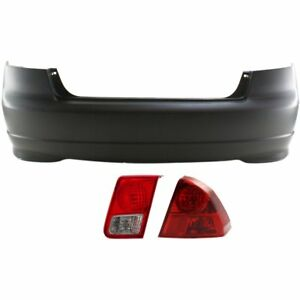 Bumper Cover Kit For 2004 2005 Honda Civic Rear Right 3 Pieces