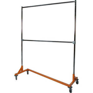 Z rack Laundry Room Clothes Rack 60 L X 72 Uprights Double Rail Orange
