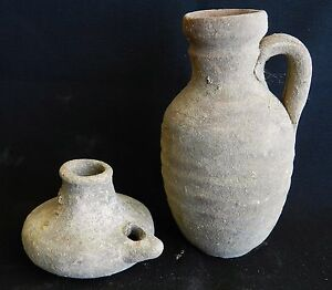 Biblical Ancient Holy Land Roman Clay Pottery Pitcher Jug Oil Lamp Terracotta