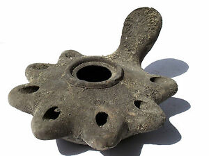 Biblical Oil Lamp Holy Land Antique Roman Clay Pottery Terracotta 7 Wicks 37bc