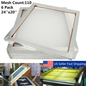 6pcs Aluminum Silk Screen Printing Press Screen Frame 24 x20 110 Mesh Count