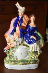 Lovely Antique English Staffordshire Scottish Wedding Couple On Clock