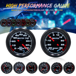 2 7 Color Led Car Turbo Boost water oil Temp press tachometer exhaust Gas Gauge