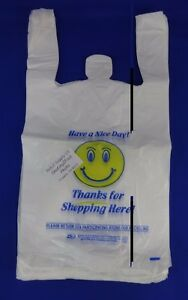 Smiley Face Thanks For Shopping Here Plastic T shirt Bags 11 5 x7 x21 Handles
