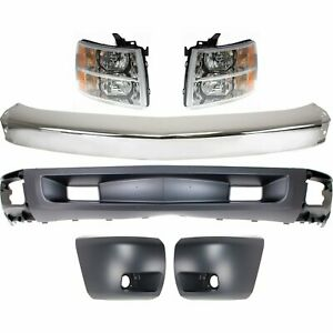 Bumper Kit For 2007 2008 Chevrolet Silverado 1500 Front With Fog Light Hole 6pc