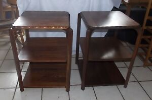 Pair Of Mid Century Solid Walnut 3 Tier End Side Tables By Queen City Rpt753