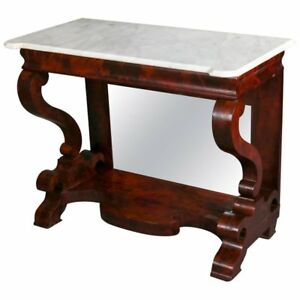 Antique Meek S School Classical Empire Flame Mahogany And Marble Pier Table