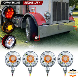 4pcs Round Led Pedestal Fender Light Truck Trailer Double Face Turn Signal Brake