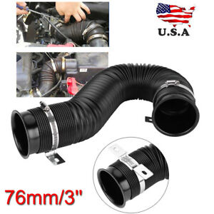 Universal 3 Flexible Car Cold Air Intake Hose Filter Pipe Telescopic Tube Kit