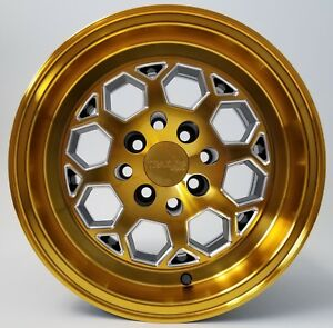 Traklite Octane Drag Wheel Anodized Gold 13x9 4x100 0mm Offset Honda Pair 2qty