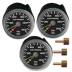 Three Air Gauges Dual Single Needle 150psi Air Ride Suspension System 2 Black
