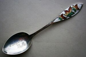 Niagara Falls Sterling Silver Enamel Souvenir Spoon From The Early 1900 S