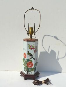 Antique Chinese Porcelain Table Lamp Depicting A Bird Flowers Poem