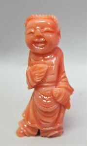 Fine Meiji Era Japanese Carved Red Coral Figure Of Man W Fish C 1900 Antique