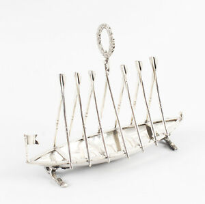 Antique Silver Plated Rowing Boat Toast Letter Rack 19th Century