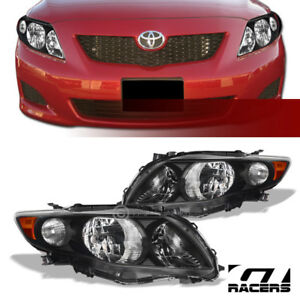 For 2009 2010 Toyota Corolla Crystal Headlights Signal Lamps Amber Dy Black