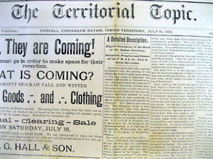 Rare 1890 1892 Indian Territory Newspaper Purcell Oklahoma Chickasaw Reservation