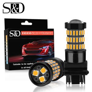 2x 3157 Led Bulb Backup Reverse Light Turn Signal 3156 3057 T25 4157 Amber 57smd