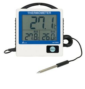 Shinwa Rules Waterproof Digital Thermometer G 1 Max min Remote reading 73045
